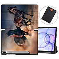 MAITTAO Galaxy Tab S6 10.5 Case 2019 Release S Pen Holder with Charged Wirelessly, Slim Folio Shell Stand Cover for Samsung SM-T860/T865 /T867 Tablet Sleeve Bag 2 in 1 Bundle, Akhal-Teke Horse 18