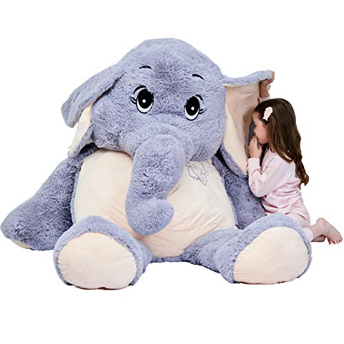 Giant Elephant Stuffed Animal Plush Toys Gifts (Gray, 72 inches)