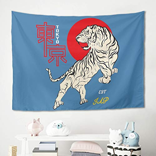Butterfly Goods Popular Tokyo Tiger Tapestry Tapiz de pared, vintage, clásico, decoración para el hogar, para dormitorio de Dorm Decor White 200 x 150 cm
