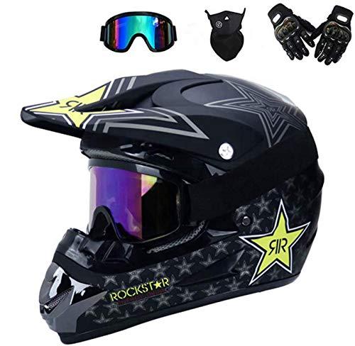 FANYI Kinder Enduro Cross Helm Motorradhelm,Off Road Helm mit Handschuhe Maske Brille, Cross Helme Schutzhelm ATV Helm für Männer Damen Sicherheit Schutz (M)