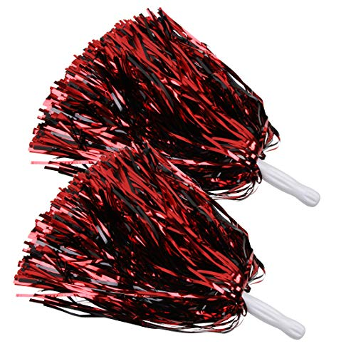ICObuty Metallic Cheerleading Pom Poms Foil Fluffy 12 inch 2 Pack NO Sheddingfor Sport Squads Dance Hen Party Stage Performance Celebration (Red/Black)