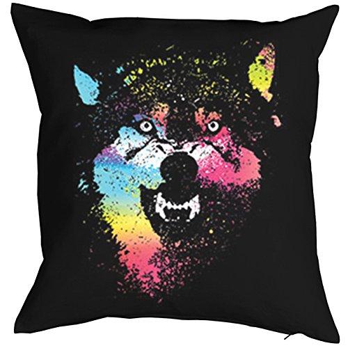 Wolf Motiv USA Colorful wolves Kissen mit Füllung: Indianer Wildlife Wild Wölfe Polster Geschenk Geschenkidee zum Geburtstag