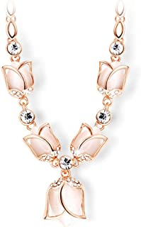 Rose Gold Plated Tulip Statement Necklace (Light Pink)