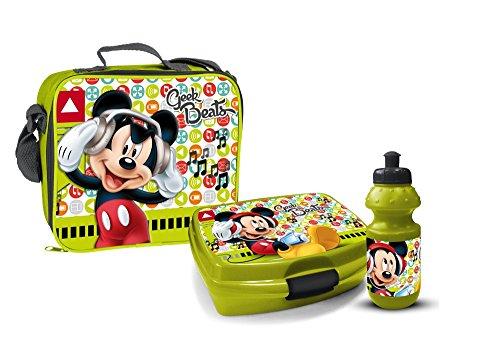 Disney Mickey Maus Pausenset Lunchbox 3 Teile Tasche Brotdose Trinkflasche