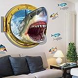 Pegatinas de Pared infantiles 3D Tiburón Acuario Piscina Habitación de los niños Fondo Etiqueta de la Pared Mural decorativo PaPel taPiz 60 * 90 cm