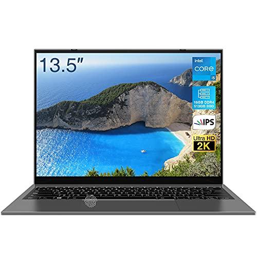 2021 Nuovo Pc Portatile, BiTECOOL Windows 10 Computer Portatili, 13,5 pollici 2256x1504 2K IPS, Intel Core i5-1035G1, 16GB RAM + 512GB SSD, Tastiera Retroilluminata, Impronta Digitale
