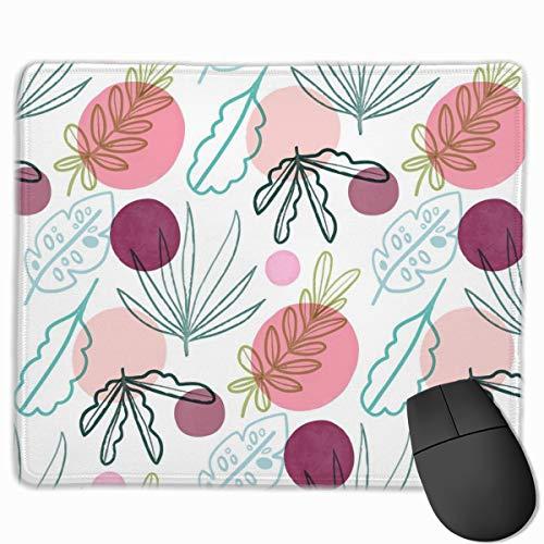 Alfombrilla de ratón con diseño femenino con hojas y formas personalizada, base de goma antideslizante para oficina, trabajo y hogar, accesorio de computadora de 11.8