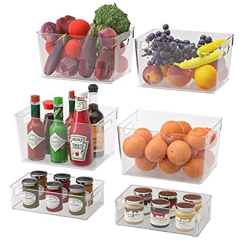 Juego de 6 Organizador de despensa Frigorífico Organizador Bins para Cocina, Organizar Frutas y Verduras