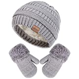 Winter Mittens Gloves Beanie Hat Set for Kids Baby Toddler Children, Knit Thick Warm Fleece Lined Thermal Set for Boy Girl (Light Gray)