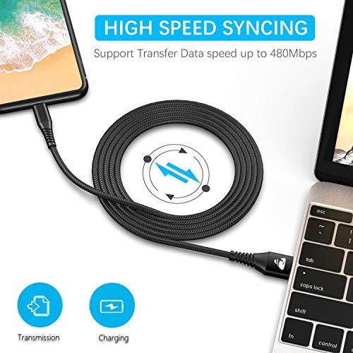 Micro USB Kabel, [2Pack 2M] Nylon Micro USB Ladekabel Schnellladekabel Andriod Handy Ladekabel für Samsung Galaxy S7/S6/S5/J3/J5/J7/Note 5, Tablet, Huawei, Xiaomi, HTC, Sony, Nexus, Nokia, PS4