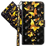 MRSTER LG Q60 Handytasche, Leder Schutzhülle Brieftasche Hülle Flip Hülle 3D Muster Cover mit Kartenfach Magnet Tasche Handyhüllen für LG Q60 / LG K50. YX 3D - Golden Butterfly