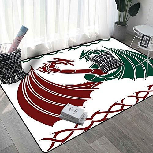 Celtic Custom Area Rug 4x6 Ft, Dragons Theme Design Mythical Early Medieval Scandinavian Celtic Castle Knights Washable Rug, Green Red