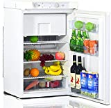 Techomey Propane Refrigerator with freezer 3.5 Cu.Ft, Camping Fridge 12 V/110V/LPG Gas, Mini Fridge 3 Way, Small Quiet Compact for RV, Truck, Semi-Truck, Motorhome, Off-Grid Cabin, White