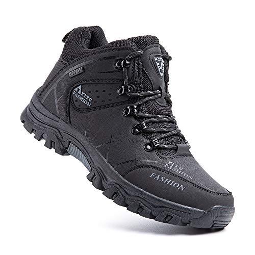 Zapatillas Trekking Hombre Antideslizantes Zapatos de Senderismo Transpirable Botas Montaña Bajas al Aire Libre 4 Negro 44 EU
