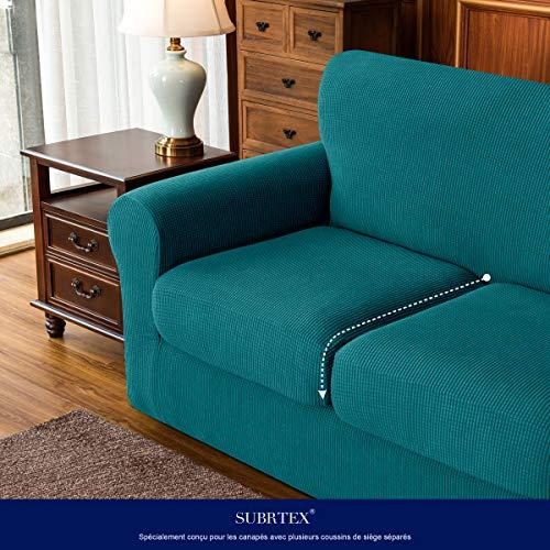 Subrtex - Copridivano estensibile con federa per cuscino, protezione per divano con braccioli elastici, blu/verde, 2 posti