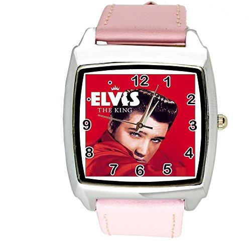 taport® Elvis Presley Music Legend Quarz Square Armbanduhr Pink Echt Leder Band E5Zifferblatt + Gratis Ersatz Batterie + Gratis Geschenkverpackung