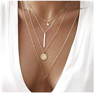 Coin Cross Pendant Layered Necklace Choker Whit Exquisite...