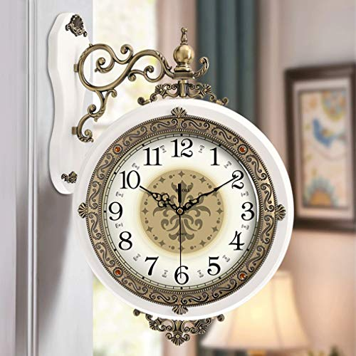 WXL Reloj de pared de metal de doble cara para sala de estar, creativo, estilo europeo, reloj de pared nórdico, de madera maciza, reloj de pared americano (color: B)
