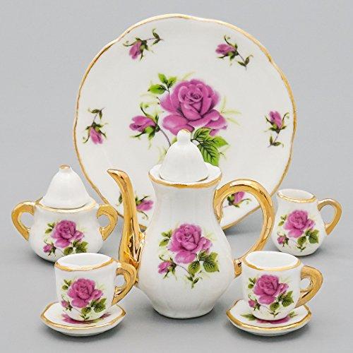 Odoria 1/6 Miniatur Geschirr 8 Stück Porzellan Tee-Set Lila Rose Für Puppenhaus Küche Zubehör Gießkanne