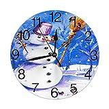 Kncsru Muñeco de Nieve con pájaros, Reloj de Pared Redondo, silencioso, sin tictac, Funciona con Pil...