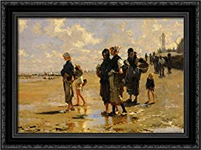 The Oyster Gatherers of Cancale 24x18 Black Ornate Wood Framed Canvas Art by John Singer Sargent