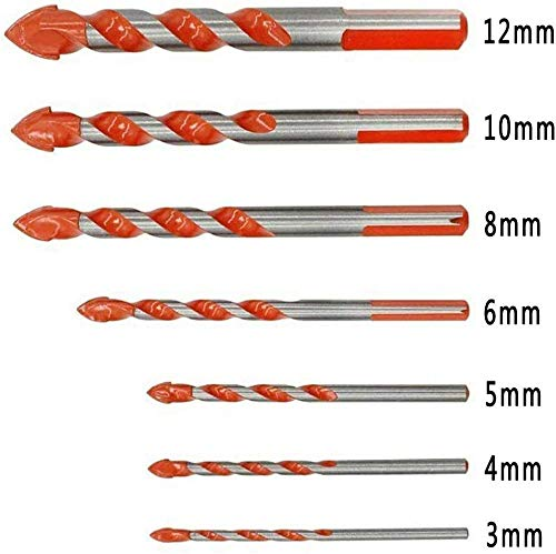 Triangular-overlord Handle Multifunctional Drill Bits, Ultimate Punching Drill Bits Set with Tungsten Carbide Tip, Metal Drill Bit Sets for Concrete, Brick, Glass, Plastic and Wood Set of 7 Pcs