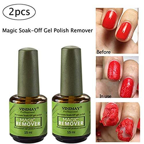 15ML UV Gel Removedor mágico de esmalte de uñas, Gel Soak off Remover Esmalte de uñas Borrar Primer Acrílico Limpiador Desengrasante para laca de uñas (2PCS)