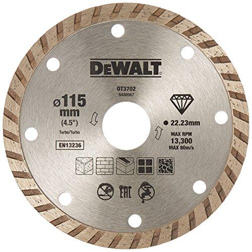 Dewalt DT3702-QZ DT3702-QZ-Disco de Diamante Turbo para Corte en seco 115x22.2mm, para mármol, Granito y Piedra Natural, 0 W, 0 V