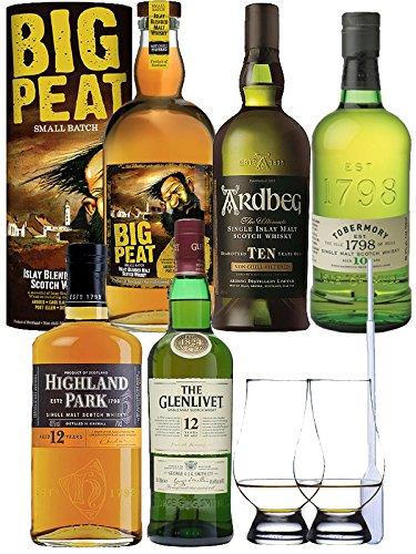 Mega Whisky Set 1 x Highland Park 12 Jahre 0,7 Liter, 1 x Glenlivet Founders Reserve 0,7 Liter, 1 x Ardbeg TEN 10 Jahre 0,7 Liter, 1 x Tobermory 10 Jahre 0,7 Liter, 1 x Big Peat Whisky 0,7 Liter mit Tube 0,7 Liter + 2 Glencairn Gläser und Einwegpipette