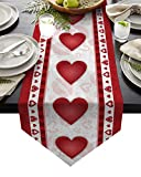 Edwiinsa Cotton and Linen Triangle Table Runners Small 36 Inches, Valentine's Day Love Heart Dresser Scarves Table Decoration for Wedding Party/Graduation Ceremony/Banquet (13x36 inch) Lip Silhouette