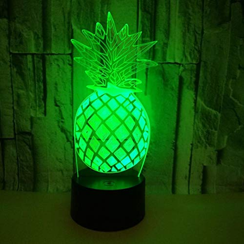 LIkaxyd LED 3D-nachtlampje, optische illusielamp 7 kleuren veranderen, Touch USB & batterij-aangedreven speelgoed decoratieve lamp, beste cadeau voor kinderen-ananas