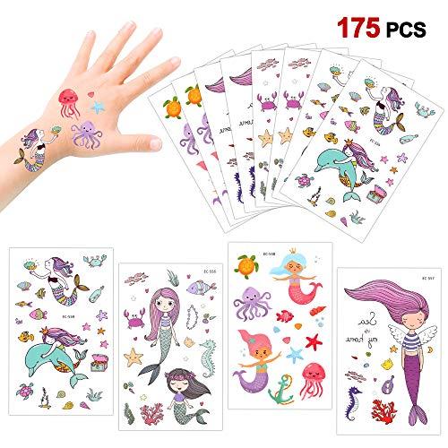 Konsait 175 farbenfrohe Meerjungfrauen temporäre Tattoos Set Haut Sticker Aufkleber Party Tattoos für Mädchen Kinder Spielen Kindergeburtstag Mitgebsel
