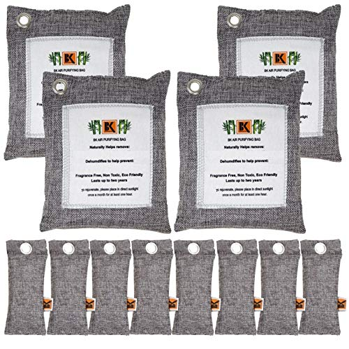Paquete de 12 bolsas purificadoras de aire de carbón activado de bambú natural, absorbe olores y filtra sustancias nocivas y alérgenos para el hogar, el automóvil y las mascotas