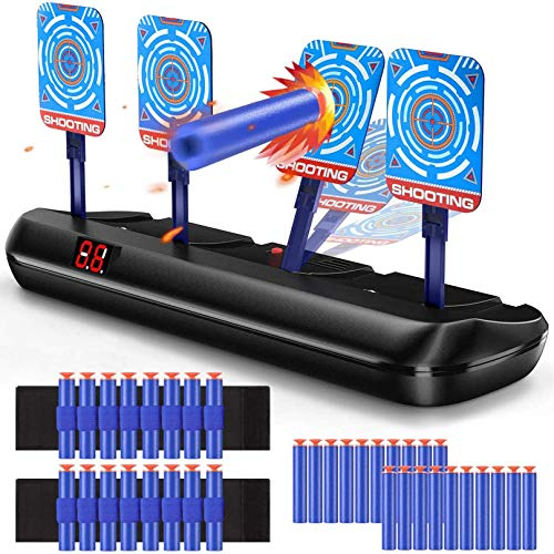 Hot Bee Electronic Shooting Digital Targets for Nerf Guns, Scoring Auto Reset Target Game with 20 Pcs Darts & 2 Hand Wrist Bands, Ideal Boys Toys Kids Gifts