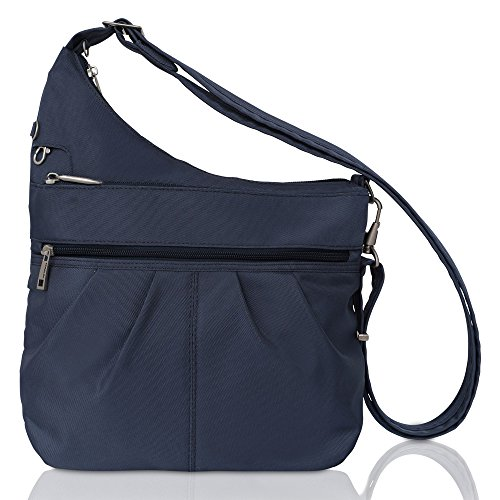 Slash-proof construction 3 locking compartments provide protection from pickpockets Main compartment has RFID blocking card and passport slots Rear zip pocket