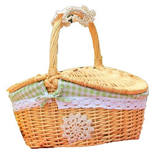 Ynnixa 1 Piece Outdoor Picnic Basket Handmade Woven Wicker Picnic Basket Green Gingham Lined Home Storage Basket
