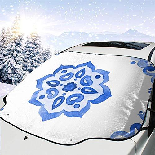 Delfts blauwe stijl aquarel tegel Amsterdam vintage auto sneeuw cover Frost zon voorruit schaduw waterdichte winter zomer auto voor auto vrachtwagen van en SUV gepersonaliseerd