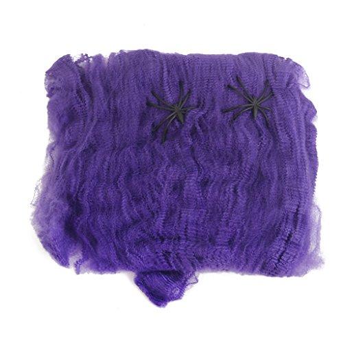 Fenteer Halloween Spinne Gurtband Dehnbaren Bahn Wolle Cobweb Mit 2 Spinnen Prop Dekor - Lila
