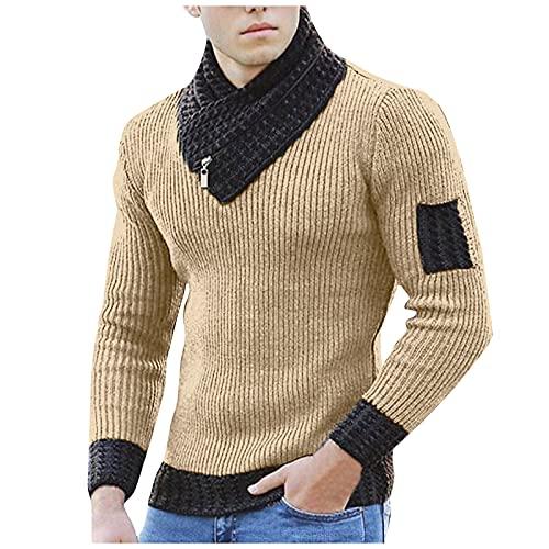 Jersey Punto para Hombre Cuello Alto con Bufanda Color Sólido Suéter Gran Tamaño Inglaterra Otoño Invierno Casual Chaqueta Deportiva Clásico Hoodie Abrigo Básico Originales Tops