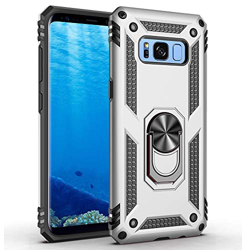 Military Grade Drop Impact for Samsung Galaxy S8 Plus Case(Galaxy S8+) 360 Metal Rotating Ring Kickstand Holder Built-in Magnetic Car Mount Armor Shockproof Case for Galaxy S8+ Phone Case (Sliver)