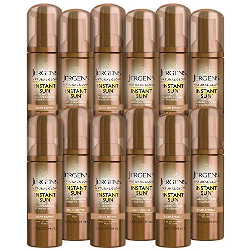 Jergens Natural Glow Instant Sun Body Mousse, Light Bronze Tan, 12-pack, 1.5 Ounce Sunless Tanning, Self Tanner, for a Natural-looking Tan