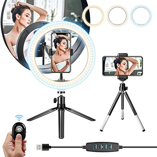 """Ring Light with Tripod Stand 10.2"""" Selfie Ring Light with Phone Holder and Bluetooth Remote, LED Circle Light for Makeup/YouTube/Photography/Camera/Vlog/Blogging Compatible with Android iPhone"""