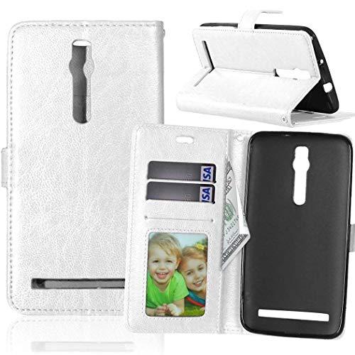 Wenlon Handy PU Hülle für Asus ZenFone 2 ZE550ML Deluxe ZE551ML 5.5inch, Hochwertige Business Kunstleder Flip Wallet Handyhülle mit Card Slot Funktion, Bracket Funktion - Weiß