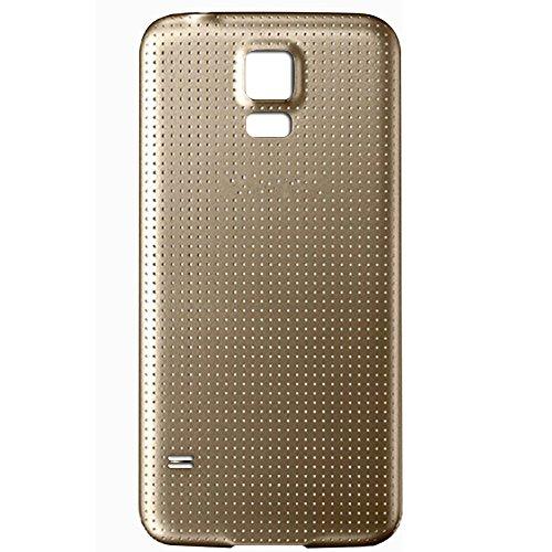 UU FIX Tapa de Batería para Samsung Galaxy S5 i9600 i9005 (Dorado) de la Reemplazo Parte Trasera Battery Cover con Kit Reparación.