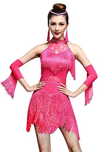 ZX Damen Tanzkleid Strass Pailletten Fransen Flapper Partykleid Latein Salsa Ballsaal Tanzen 4 Stück Outfits - Pink - X-Groß
