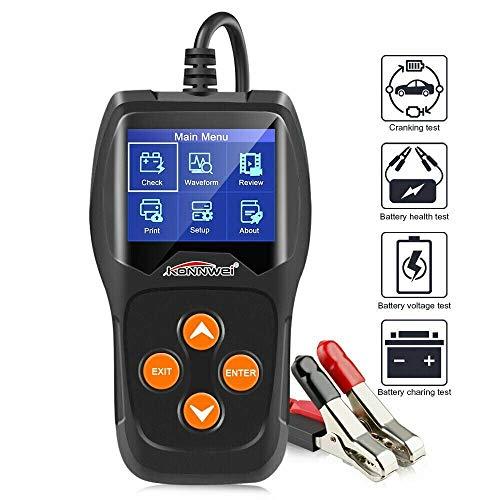 Riloer Cargador de batería del coche, pantalla LCD de 12 V de coche de la motocicleta de la batería del coche probador