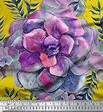 Soimoi Gelb Seide Stoff Blätter & Begonie Blumen- Stoff