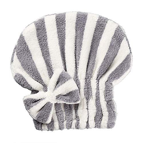 LinZX 2 pièces Bonnet de Douche Chapeau de Cheveux secs Turban Bowknot Femme Tissu Absorbant Mignon Séchage Rapide Serviette Cheveux Chiffon Sec Bande