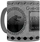 Game Of Thrones Taza Termosensible Stark, 320ml, Cerámica, Gris, Talla Única