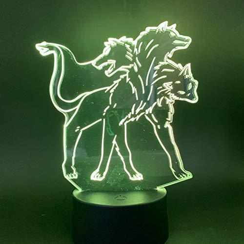 Led Nachtlicht übernatürlich drei Kopf Hund Hellhound Figur Farbwechsel Home Office Raumdekoration 3D Tischlampe Kinder Spielzeug Geschenk